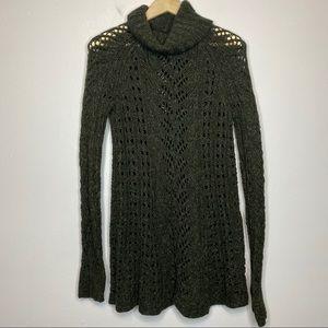 Sleeping on Snow Open Knit Long Sweater Green M
